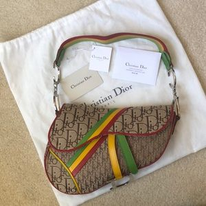 Dior Vintage Rasta Trotter Saddle Bag